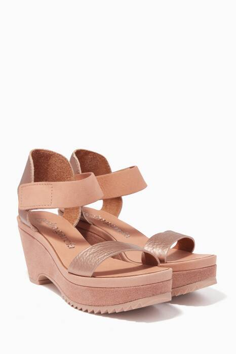 Macaron Metallic Frances Wedge Sandals