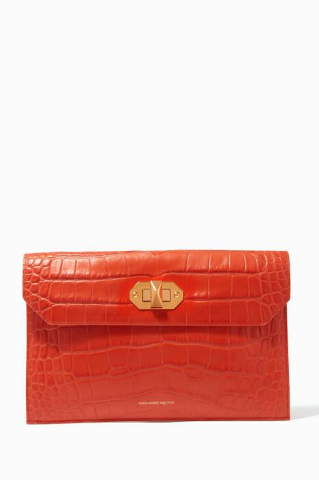 Orange Croc-Embossed Envelope Clutch