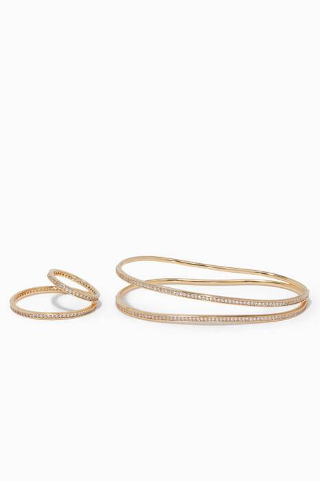 Gold Criss-Cross Ring & Hand-Bracelet Set