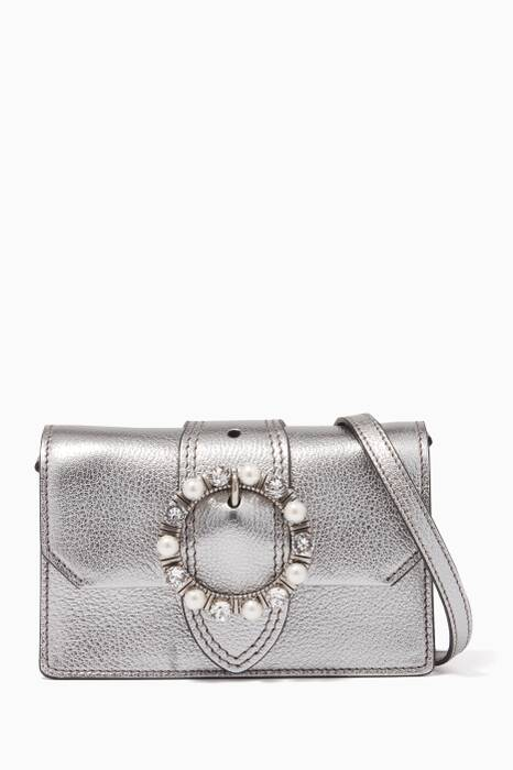Metallic-Silver Pearl-Clasp Belt & Shoulder Bag