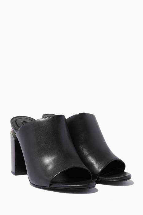 Black Avery Leather Mules