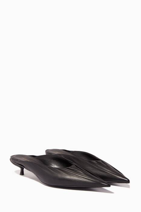 Black Knife Leather Kitten-Heel Pumps