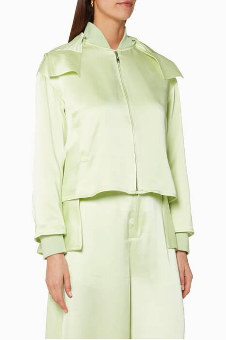 Opal-Green Hooded Bomber Jacket