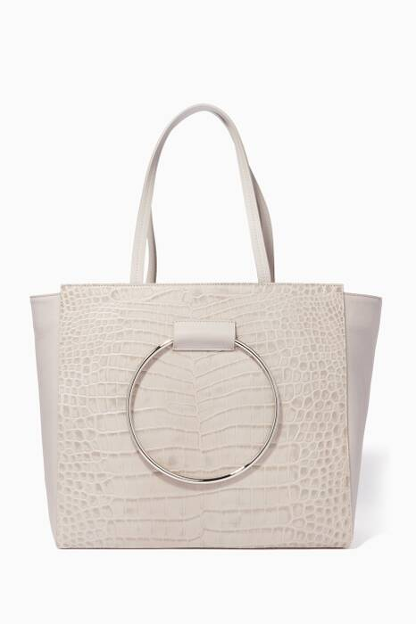 Light-Grey Croc-Embossed Leather Tote Bag