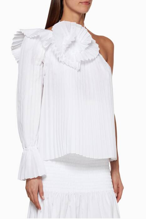 White Pleated One Shoulder Psychlone Top