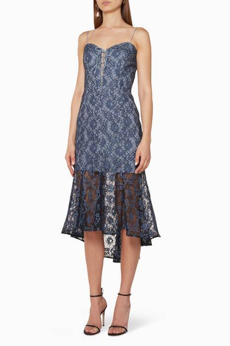 Blue Whisper Lace Midi Dress