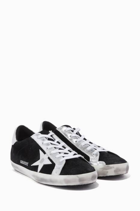 Black & Silver Metallic Suede Low-Top Superstar Sneakers