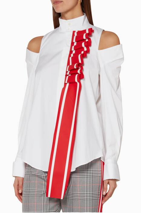 White Racing Stripe Ruffled Shirt