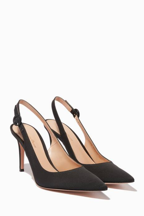 Black Grosgrain Slingback Pumps