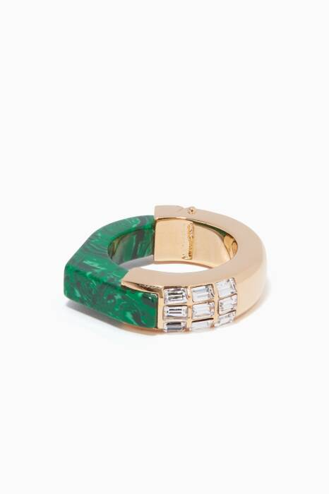 Green & Gold She Couldn't Take It Malachite Ring