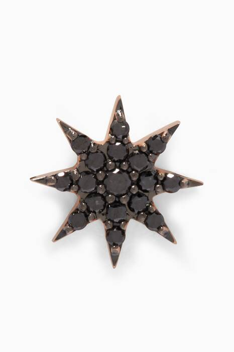 Rose-Gold Venus Star Black Diamond Earring