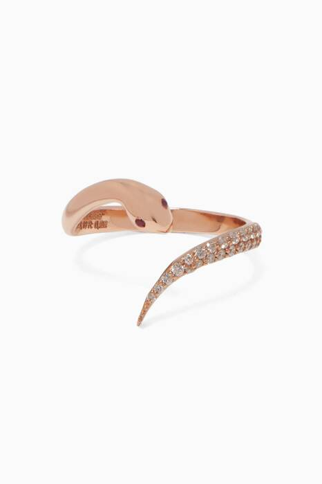 Rose-Gold, Ruby & Diamond Serpent Ring