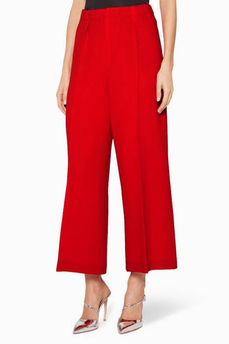 Tomato-Red Wool Broadgate Pants