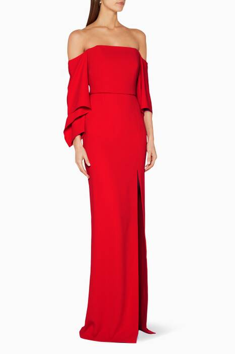 Red Off-The-Shoulder Octon Gown
