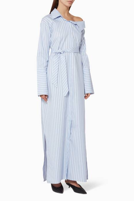 White Pin Striped Shirtdress
