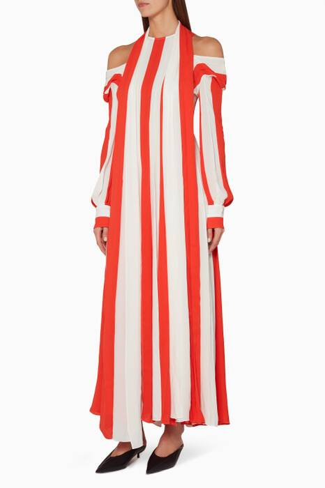 Red & White Cold-Shoulder Stripe Dress