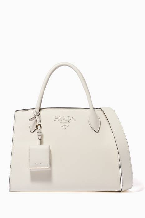 White Medium Monochrome Saffiano Tote Bag
