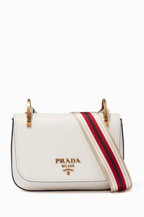White Leather Striped Web Cross-Body Bag