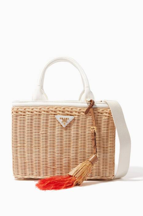 White Picnic Basket Leather Tote Bag