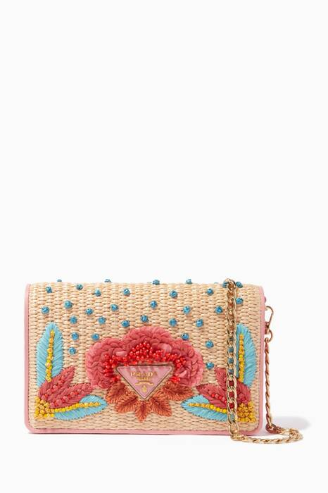 Pink Mini Raffia Bi-Colour Shoulder Bag