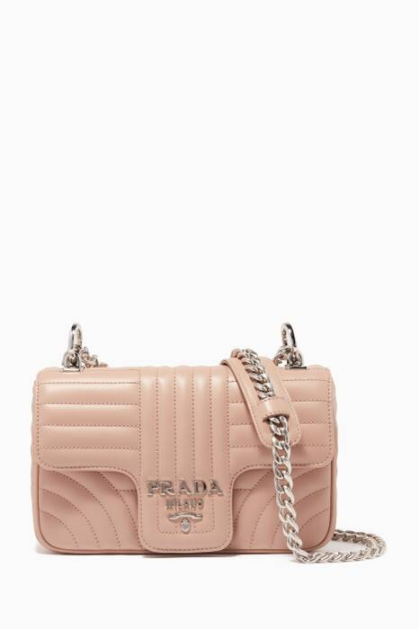 Powder-Pink Small Diagramme Leather Shoulder Bag