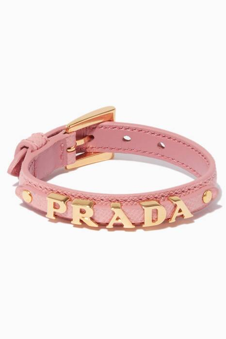 Pink Leather Logo Bracelet