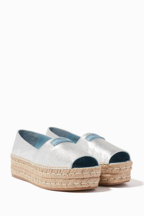 Silver Open-Toe Espadrille Sandals
