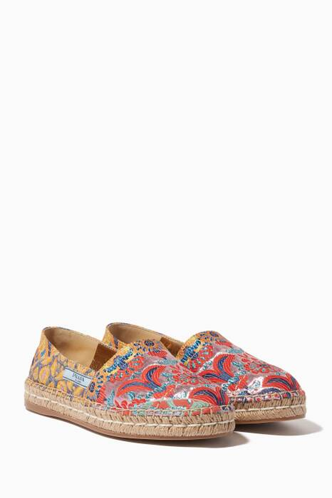 Multi-Coloured Embroidered Jacquard Espadrilles