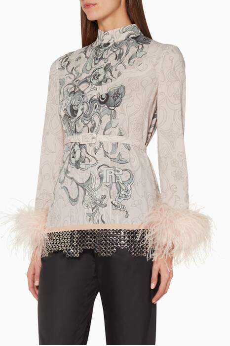 Light-Pink Printed Embellished Top