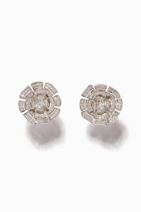 White-Gold & Diamond Labyrinth Stud Earrings