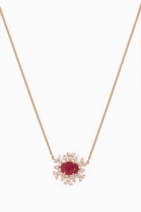 Yellow-Gold, Diamond & Ruby Spectrum Necklace