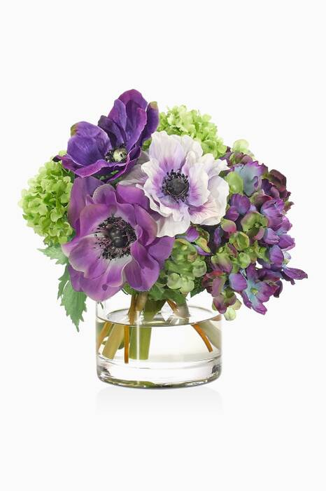 Purple Hydrangea & Anemone Bouquet With Glass Cylinder Vase