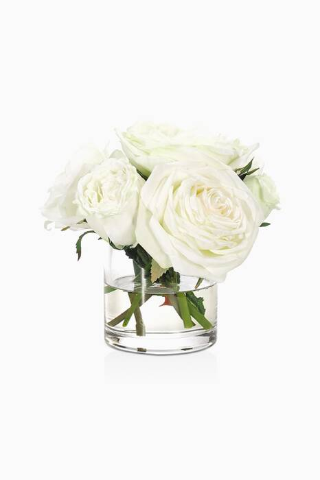 White Rose Bouquet With Glass Cylinder Vase