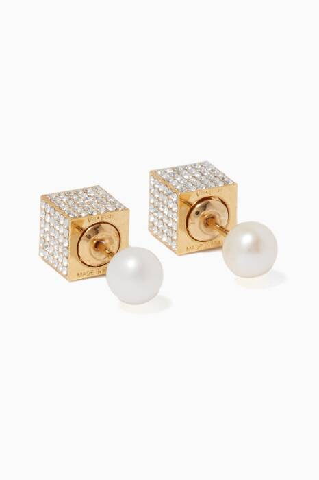 Gold Double Cube Crystal Earrings