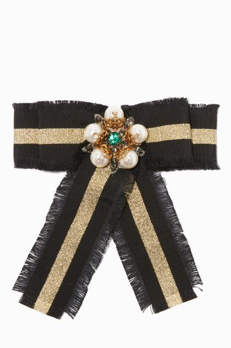 Black Web Grosgrain Bow Brooch