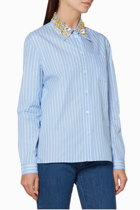 Blue Embellished Collar Shirt