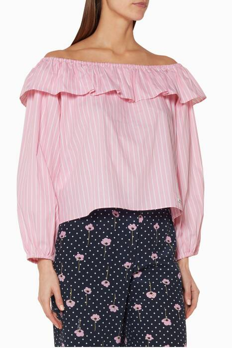 Pink Striped Off-The-Shoulder Blouse