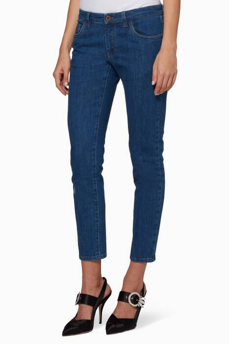 Blue Checkered-Detail Jeans