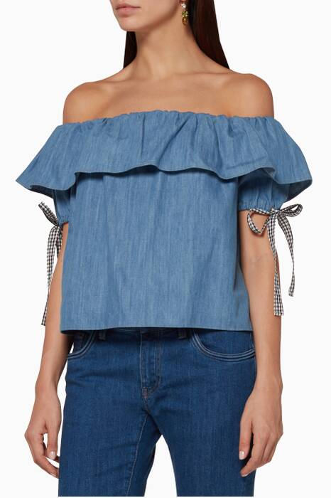 Blue Denim Off-The-Shoulder Top