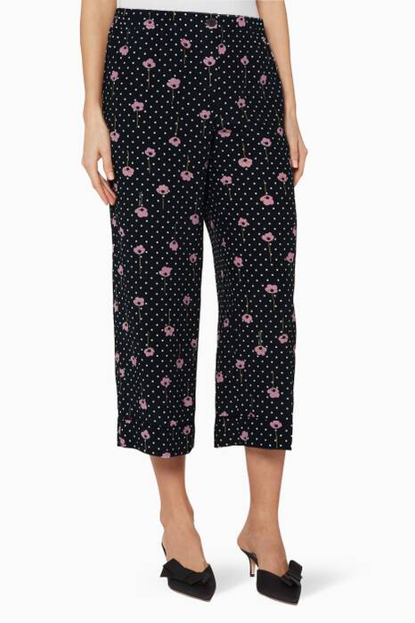 Navy Polka Dot & Floral-Print Pants