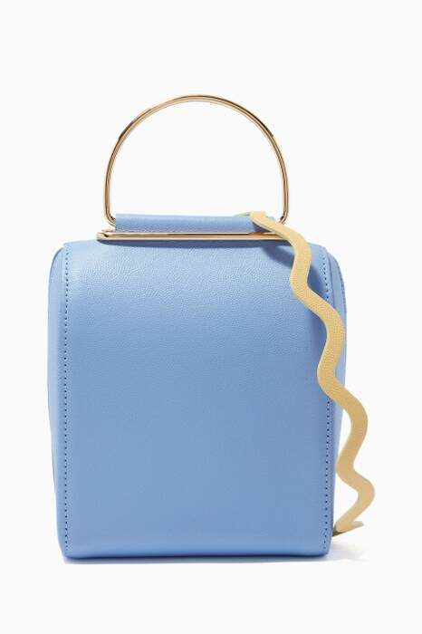 Blue Besa Leather Top Handle Bag