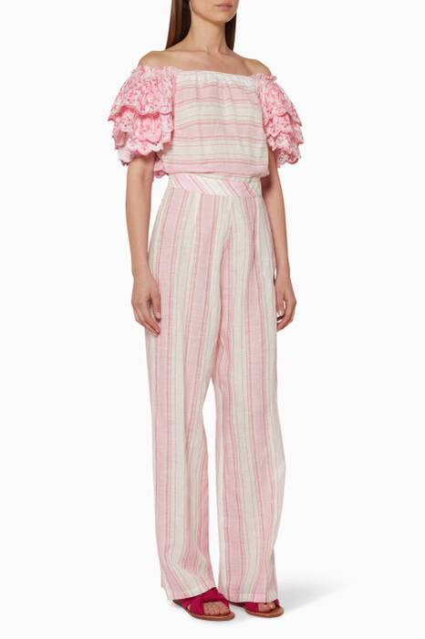 Pink Striped & Ruffled-Sleeve Jumpsuit