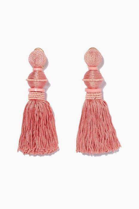 Light-Pink Ball Tassel C Earrings
