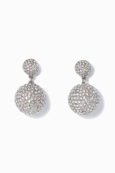 Silver Pavé Crystal Dome Drop Earrings