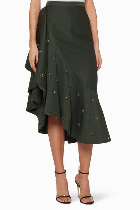 Forest-Green Assemble Midi Skirt