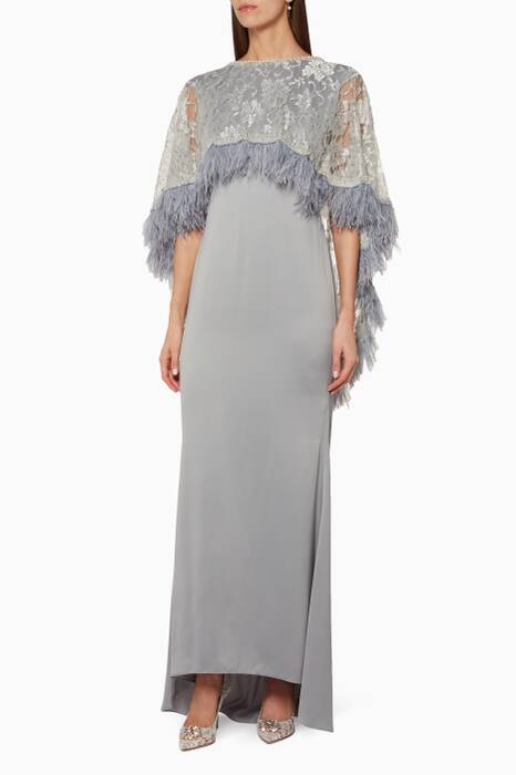 Grey Crepe Silk & Lace Embellished Kaftan
