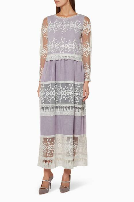 Lilac Lace Round Neck Kaftan