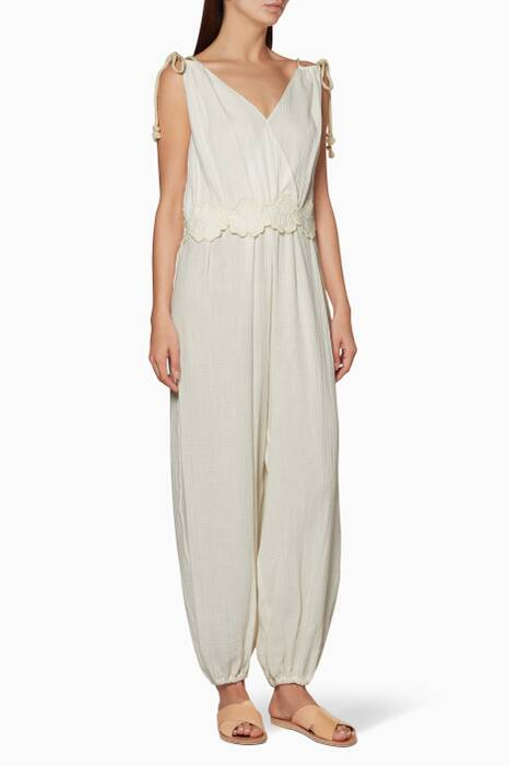 Powder-White Embroidered Jumpsuit