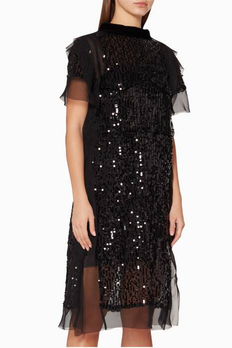 Black Sequin & Embroidered Dress