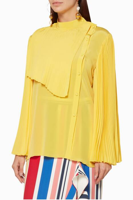 Yellow Pleated Silk Top